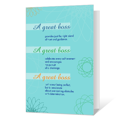 A Great Boss Printable Boss's Day Cards