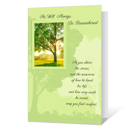 He Will Be Remembered Sympathy Cards