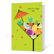 Umbrella Drinks Birthday Cards