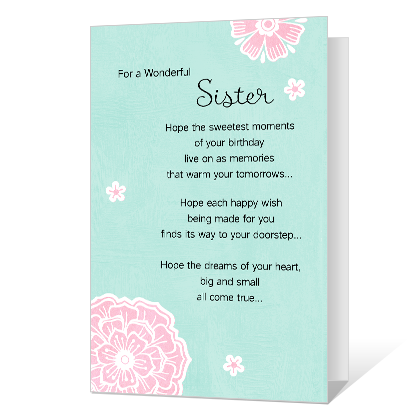 Wonderful Sister Birthday Cards