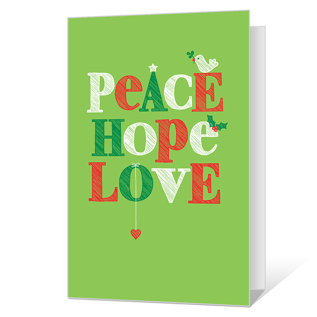 Peace Hope Love Printable Christmas Cards