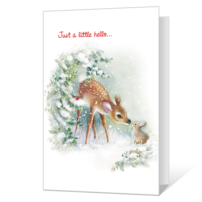 A Little Hello Printable Christmas Cards