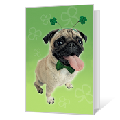 Pugs and Kisses Printable St. Patrick's Day Cards