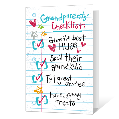 Grandparents Checklist Printable Grandparents Day Cards