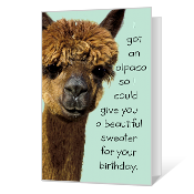 Birthday Alpaca Printable Birthday Cards