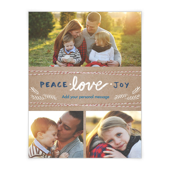 Peace Love and Joy<br>Add-a-Photo Christmas Cards