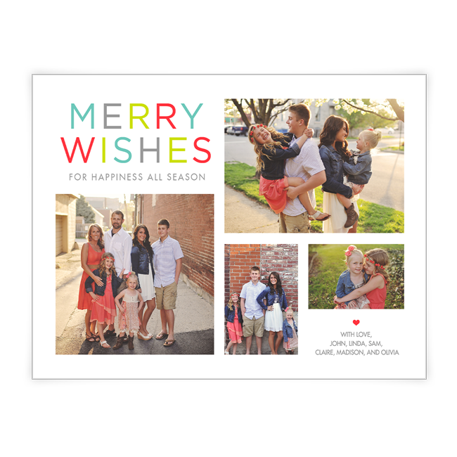 Colorful Wishes<br>Add-a-Photo Christmas Cards