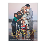 Golden Christmas Wishes Add-a-Photo Christmas Cards