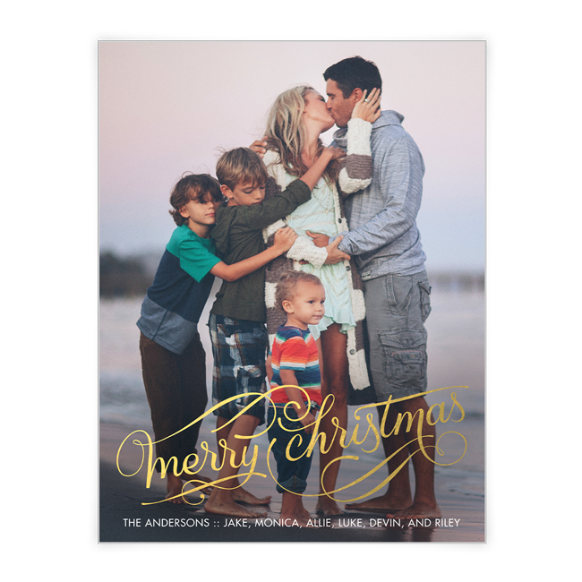 Golden Christmas Wishes<br>Add-a-Photo Christmas Cards