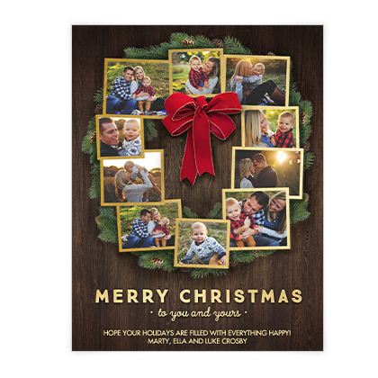 Christmas Wreath Wishes<br>Add-a-Photo Christmas Cards