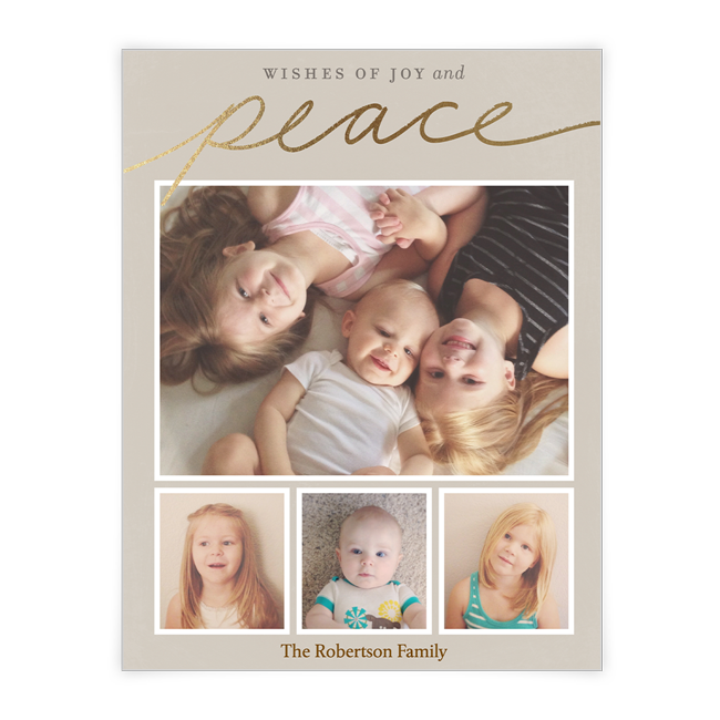 Wishes of Joy and Peace<br>Add-a-Photo Christmas Cards