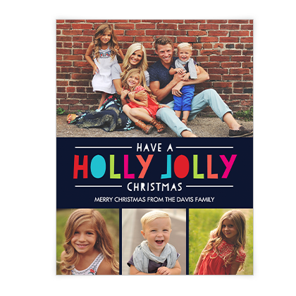 Holly Jolly Wishes<br>Add-a-Photo Christmas Cards