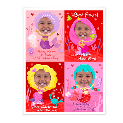 Mermaid Valentines<br>Kids Add-a-Photo Valentine's Day Cards