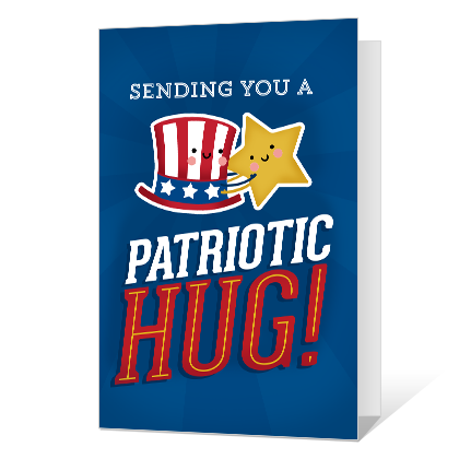 Patriotic Hug<br>Add-a-Photo Independence Day Cards