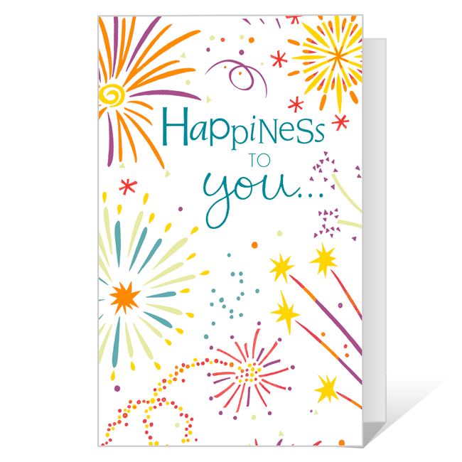 Happiness in the New Year Printable New Year's Day Cards