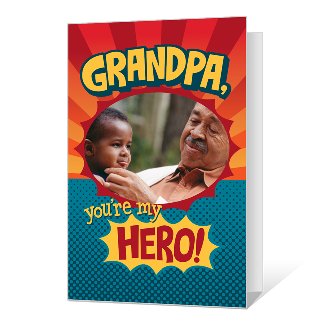 Grandpa, You're My Hero! Printable (Add-a-Photo) Father's Day Cards