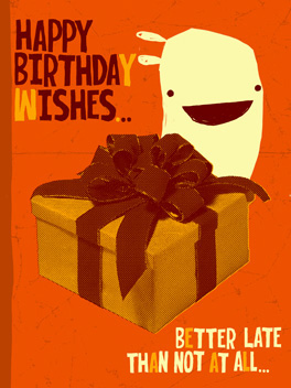 Period Piece fashionably late card