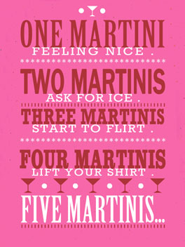 Martinis All Around birthday card