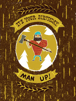 Man Up birthday card