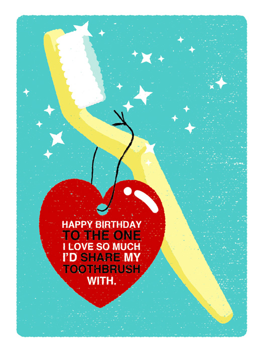 Toothbrush Love Card Birthday Greeting Card Justwink Cards