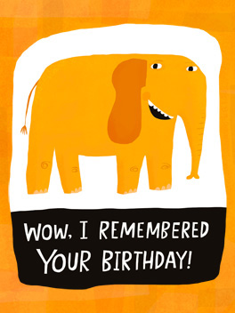 Forgetful Elephant fashionably late card