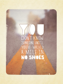 A mile in no Shoes. card