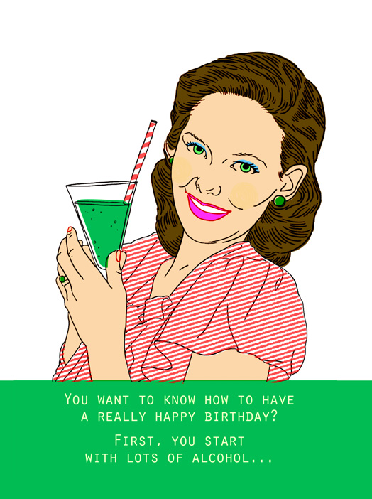 lots of alcohol Card Birthday Greeting Card – Drinking Birthday Cards