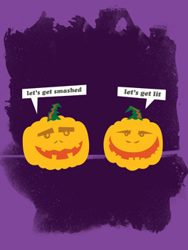 smashed halloween card