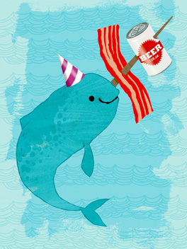 Birthday Narwhal birthday card