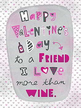 wine + friends valentine's day card