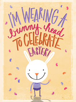 bunny head easter card