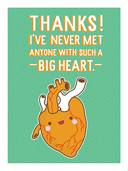 big heart thanks card