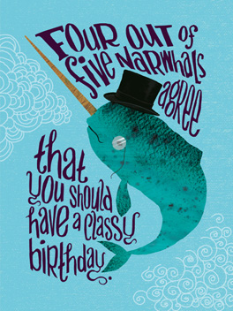 narwhal focus group birthday card