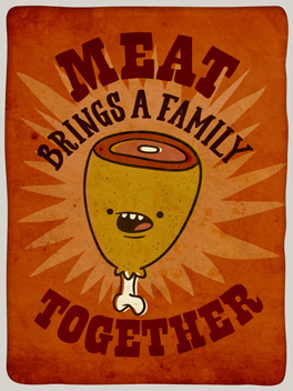 let's meat up thanksgiving card
