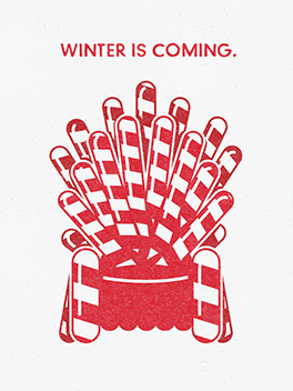 winter is coming season's greetings card