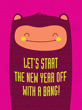 bang! happy new year card