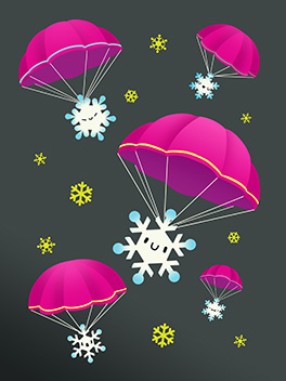 here we snow! season's greetings card