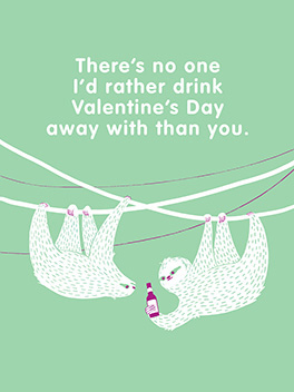 drinkin' away valentine's day card