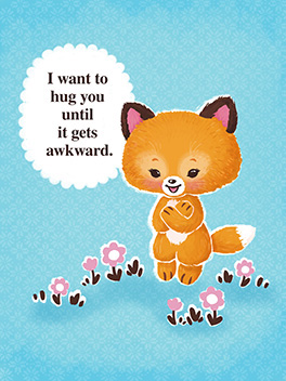 awkward hugging thanks card