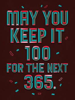 100/365 happy new year card