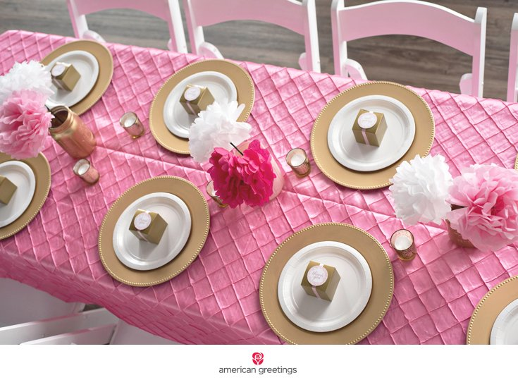 pink and gold birthday party table setting