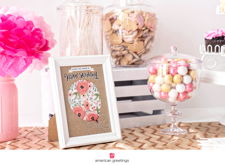 pink and gold birthday party frame treats