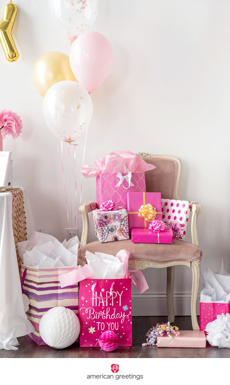 pink and gold birthday party gift chair