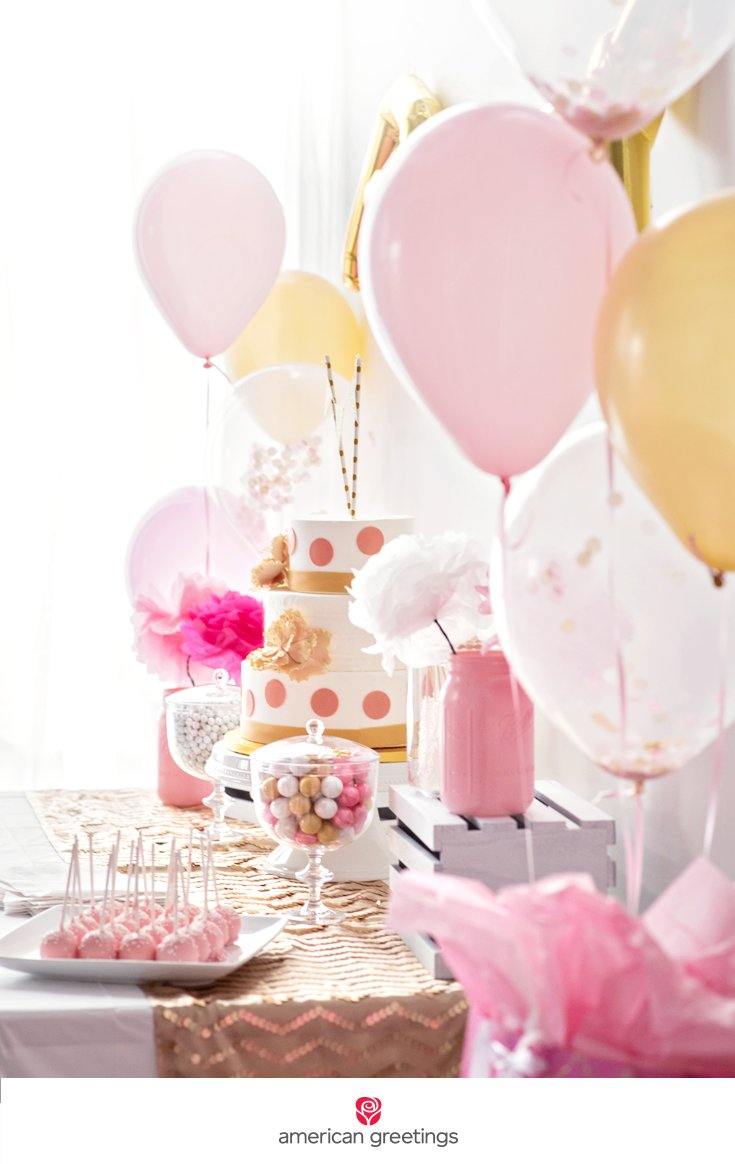 pink and gold birthday party cake pops