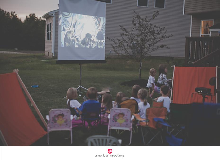 Camping party backyard movie