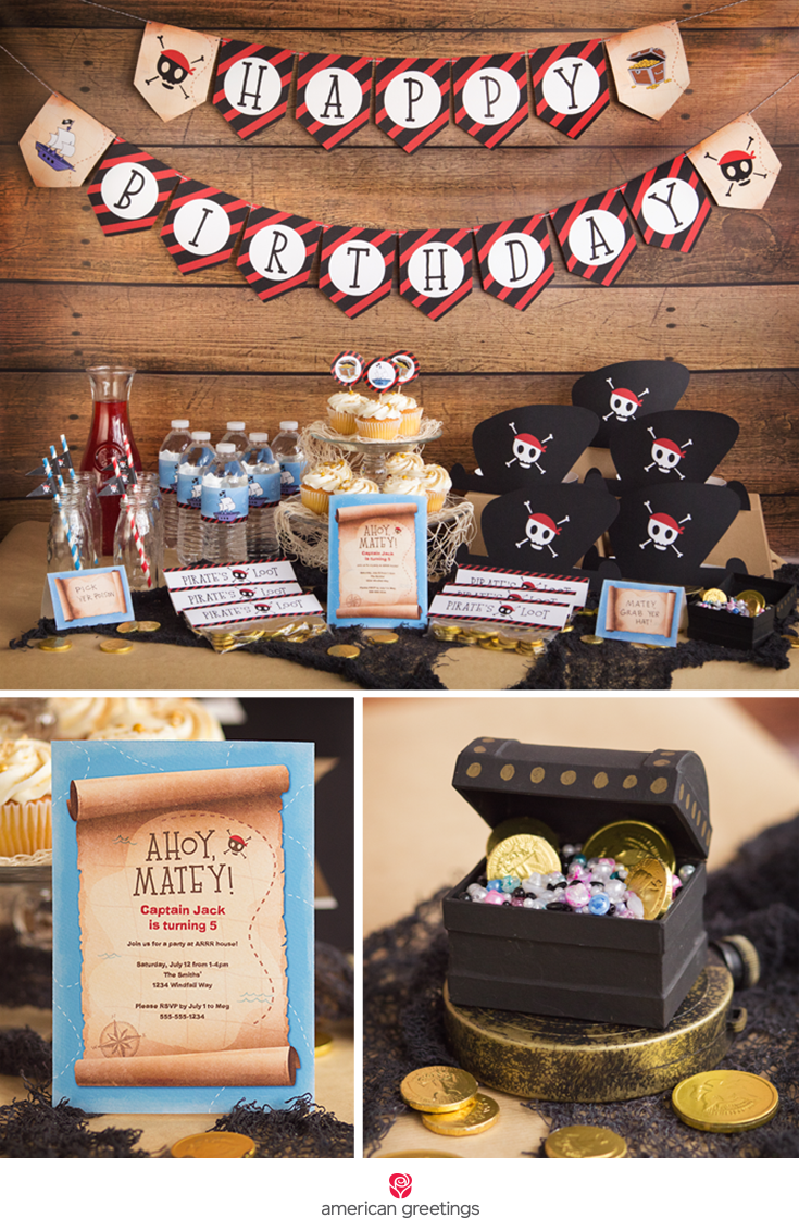 overview image with pirate happy birthday party themed decor, garland, invitation, and a treasure chest