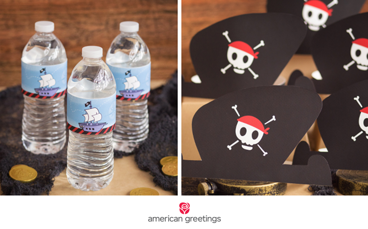 left: pirate theme water bottle labels / right: printable pirate hat