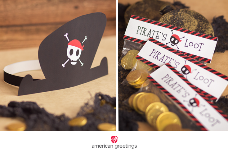 printable pirate hat and treat bags labels