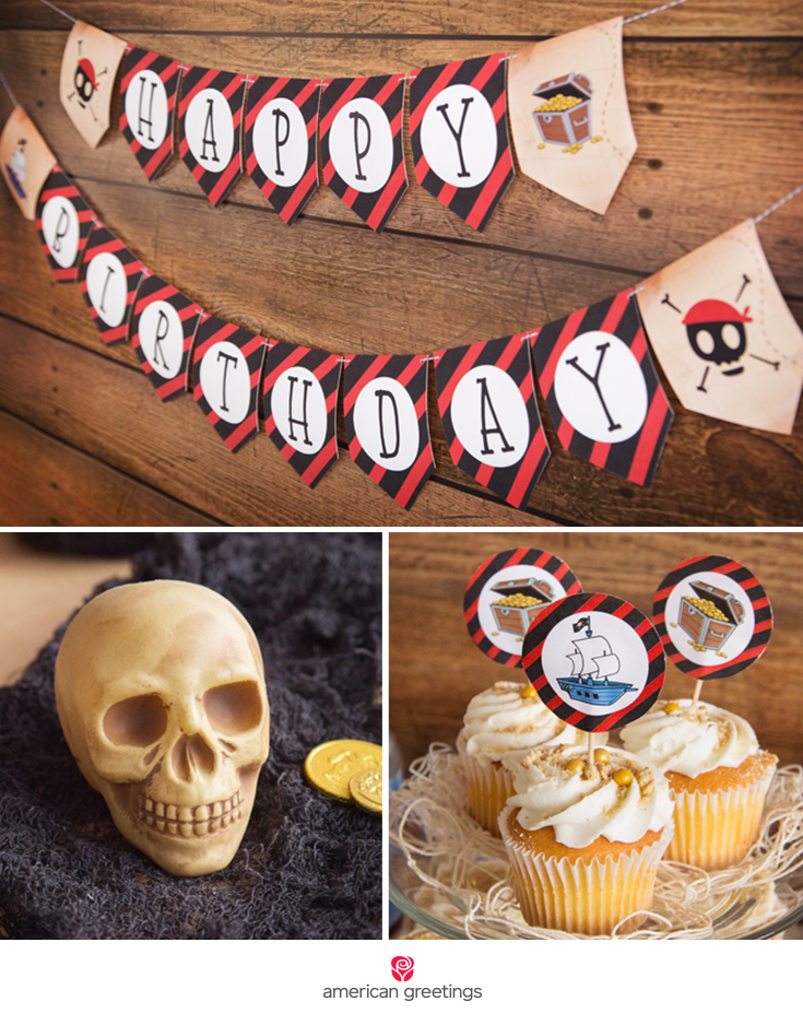 scene with happy birthday banner, skull and cupcackes topper
