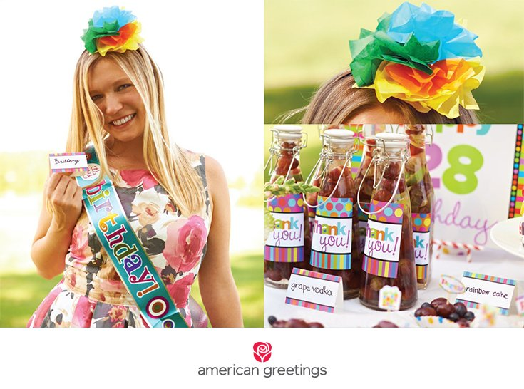 Rainbow birthday party name tags and favors